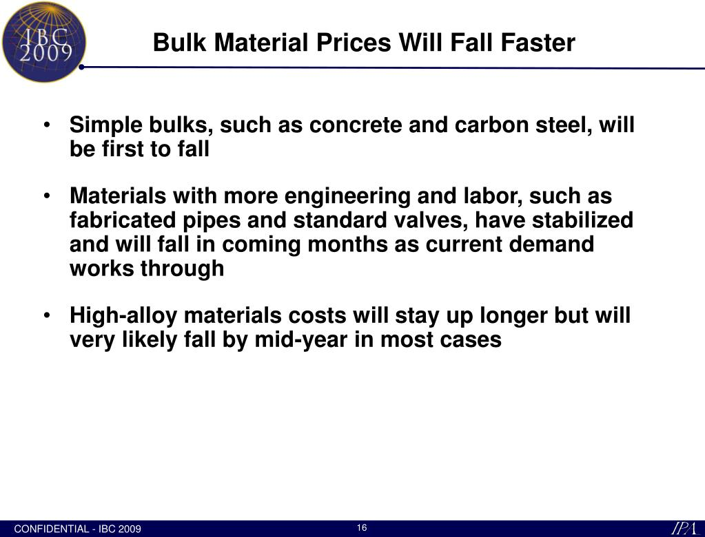 Bulk Material Prices Will Fall Faster