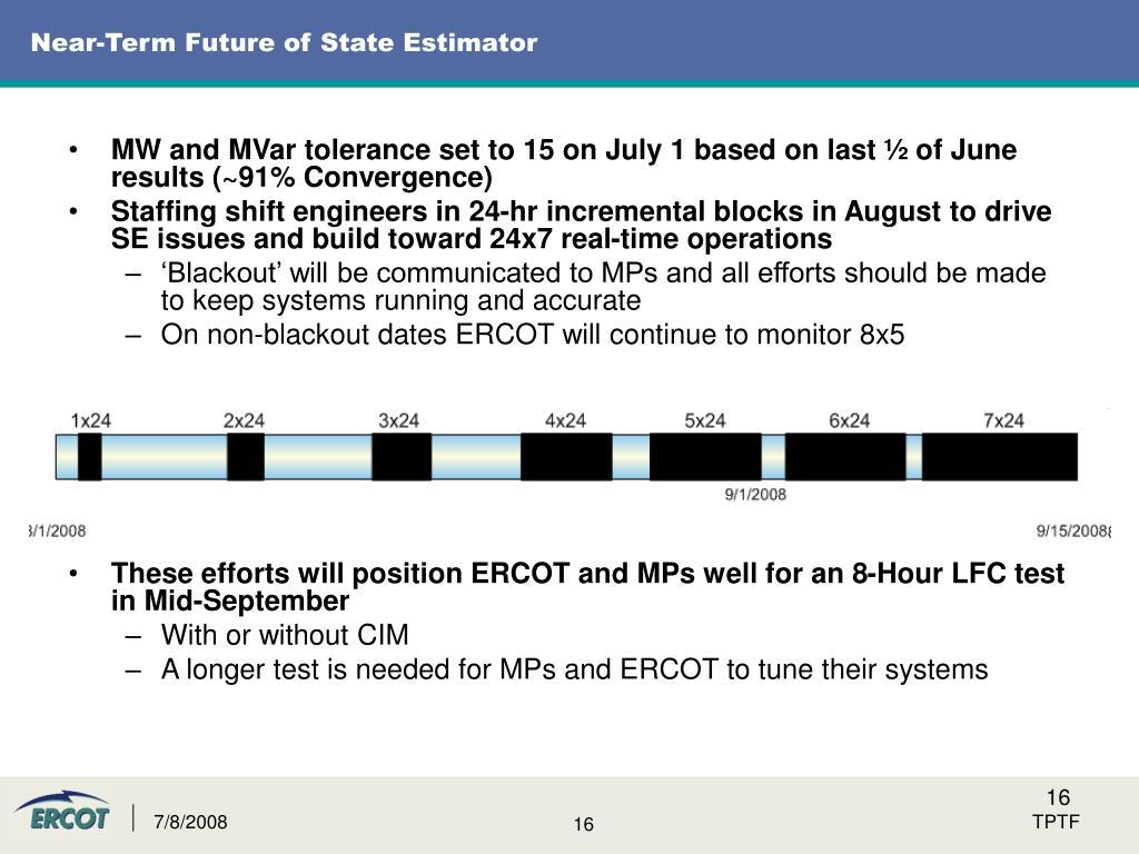 Near-Term Future of State Estimator