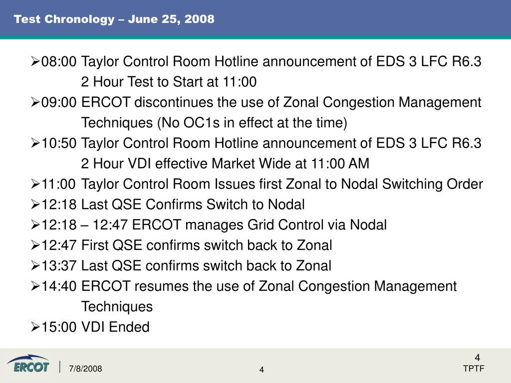 Test Chronology – June 25, 2008