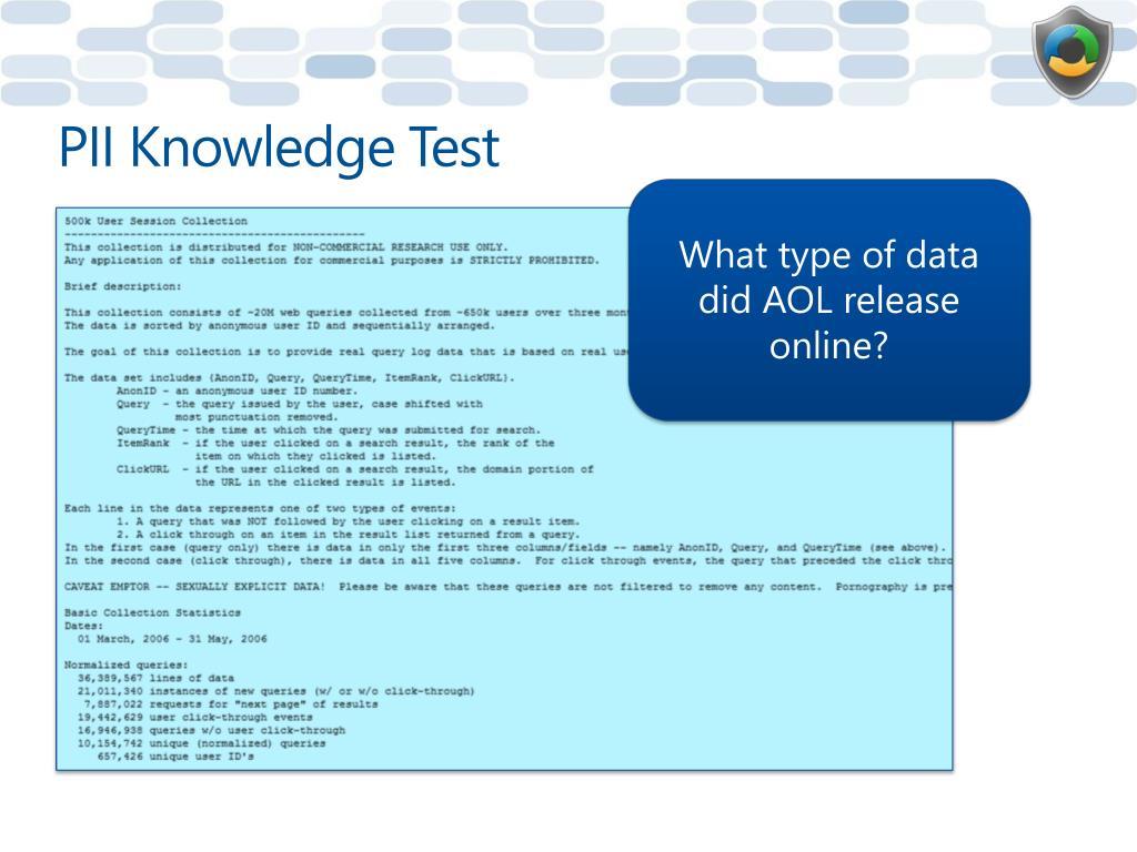 PII Knowledge Test