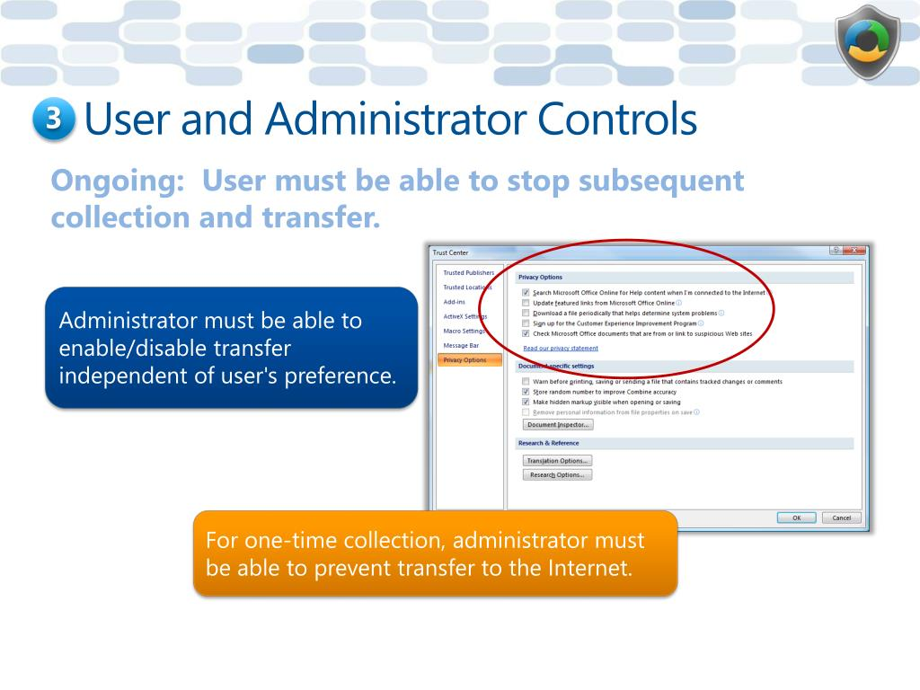 User and Administrator Controls