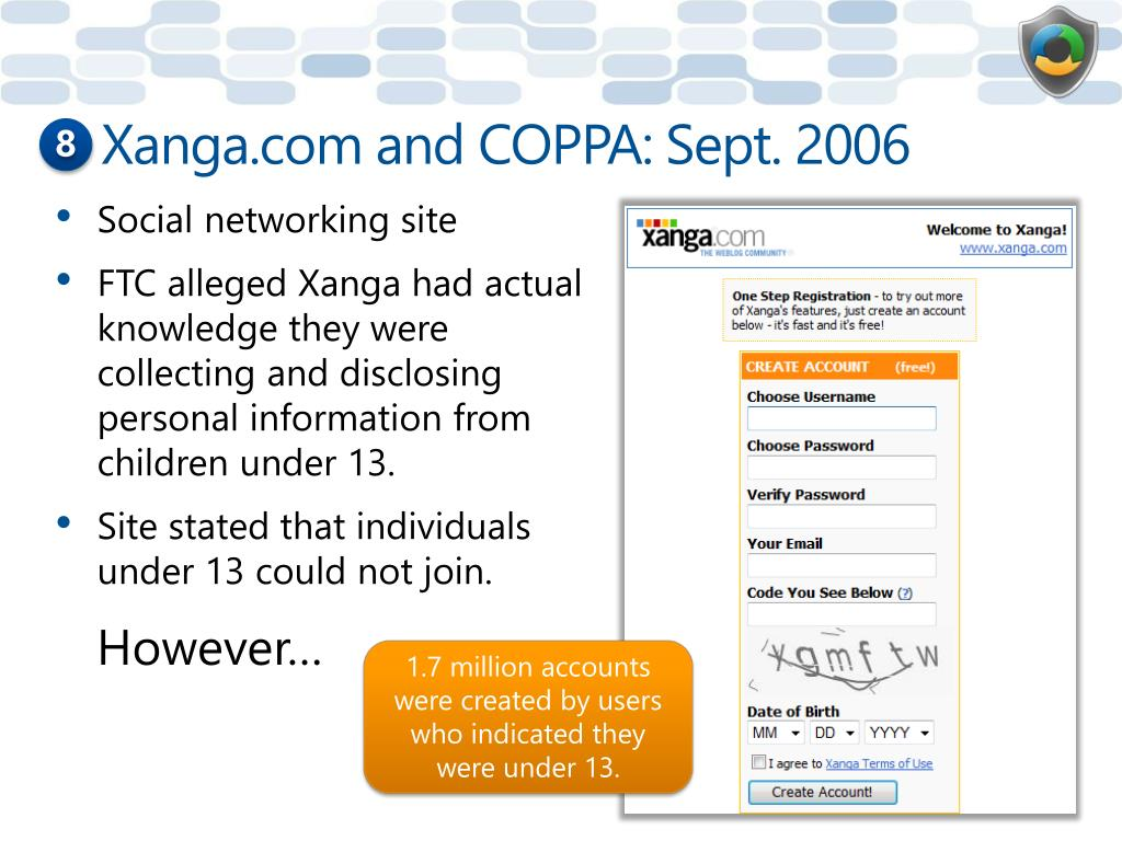 Xanga.com and COPPA: Sept. 2006