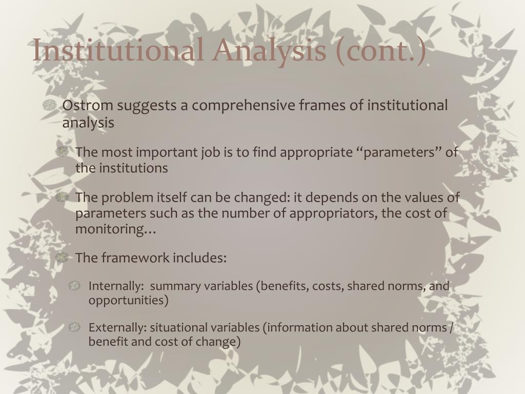 Institutional Analysis (cont.)