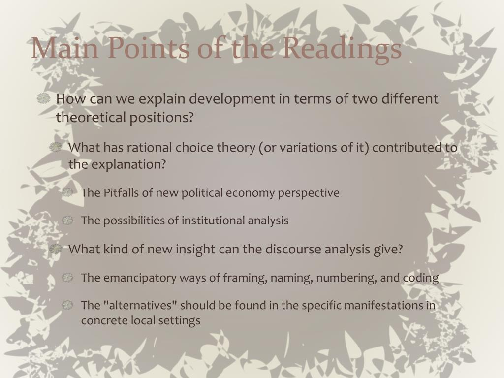 Main Points of the Readings