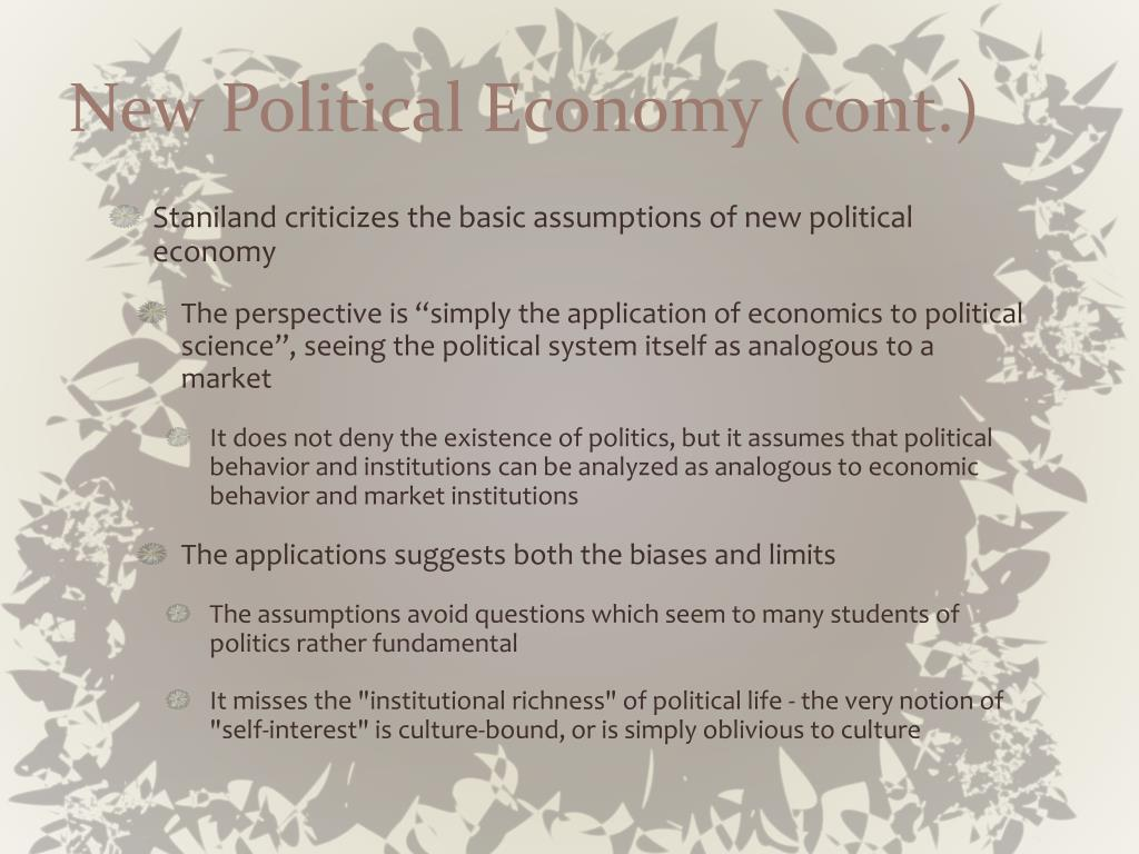 New Political Economy (cont.)