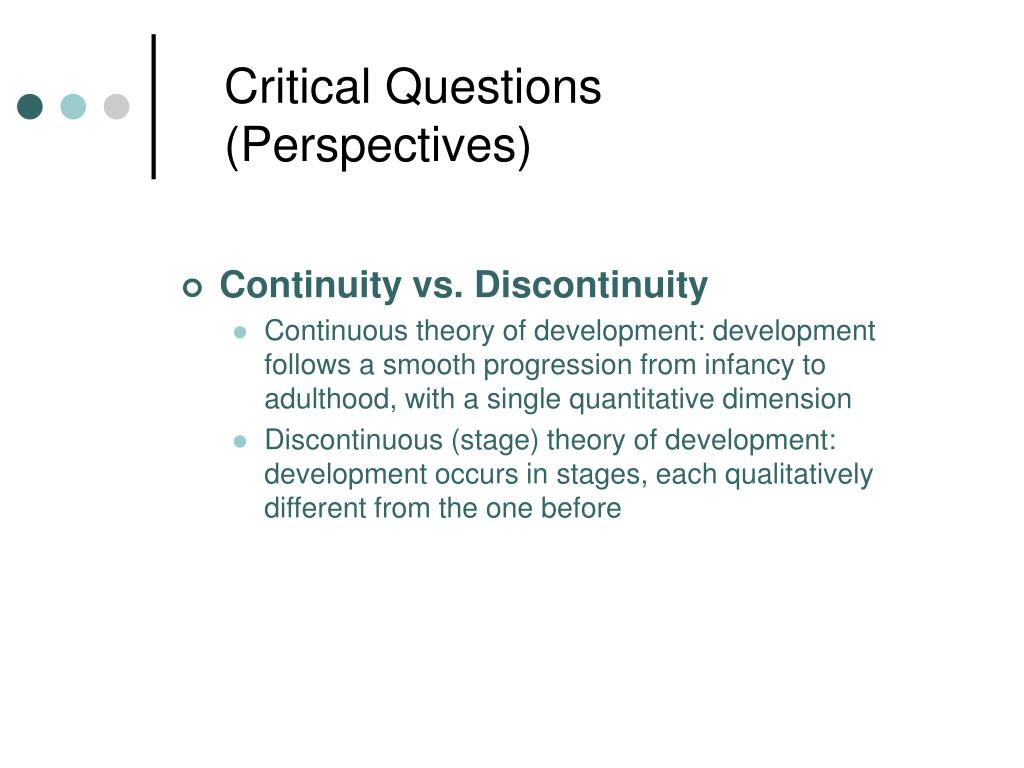 Critical Questions  (Perspectives)