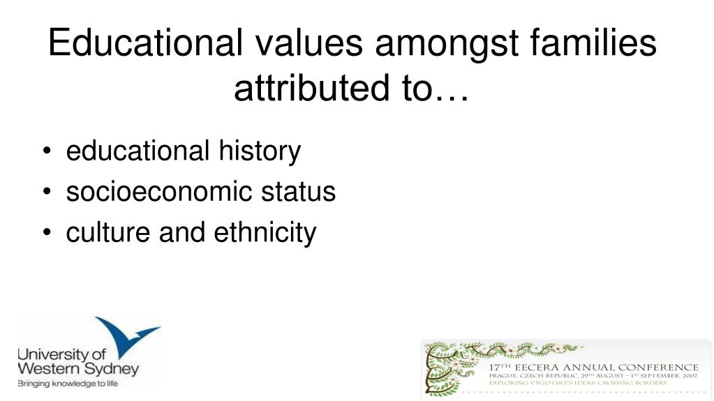Educational values amongst families attributed to…