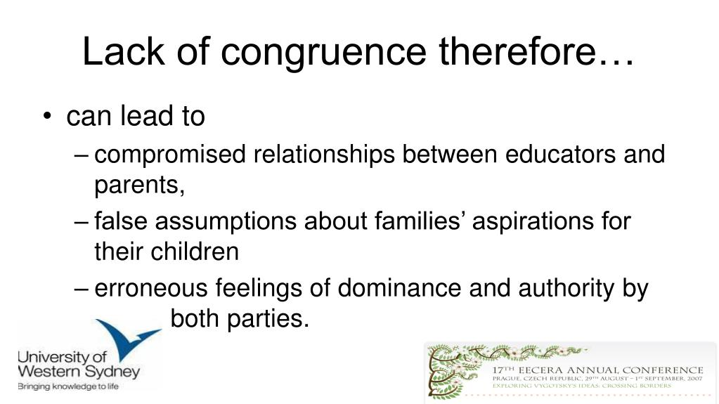 Lack of congruence therefore…