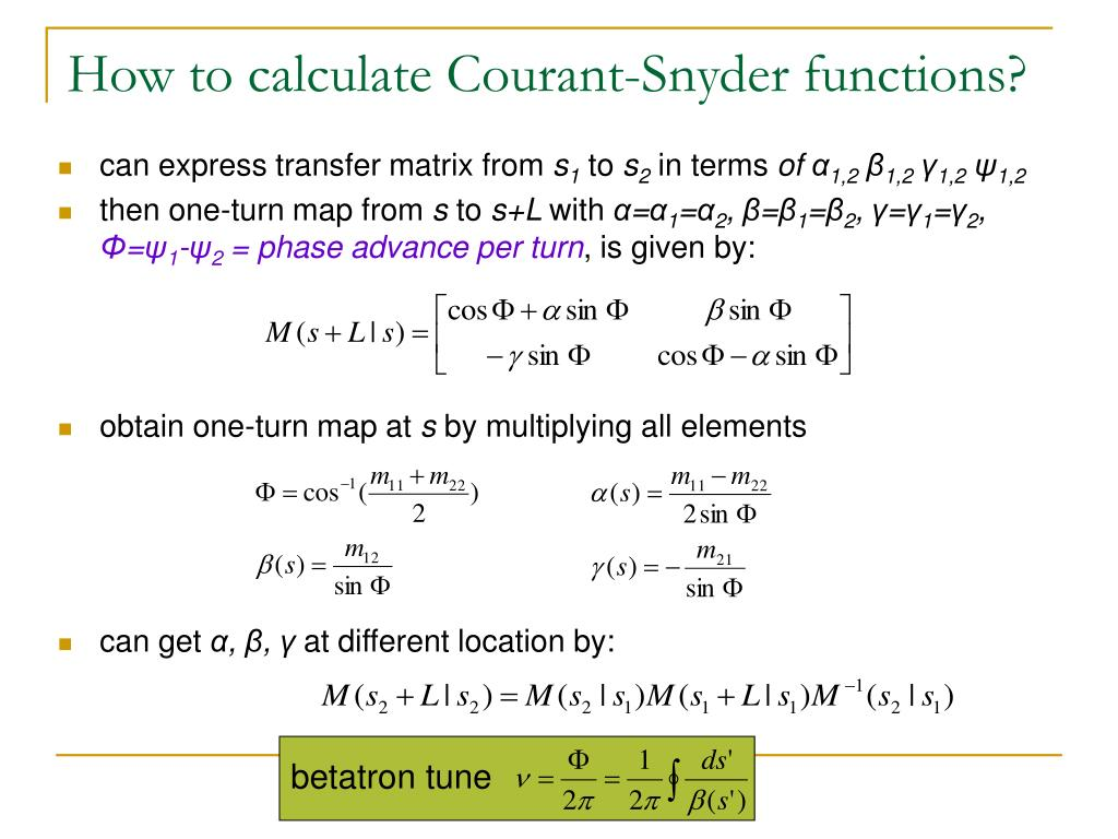 How to calculate Courant-Snyder functions?