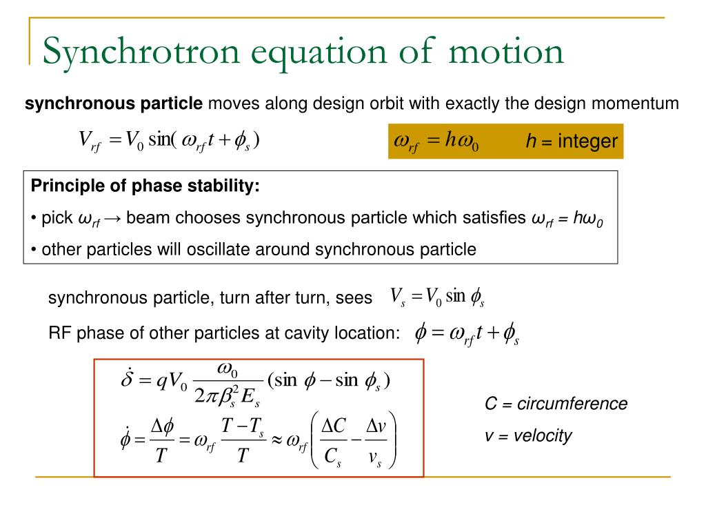 Synchrotron equation of motion