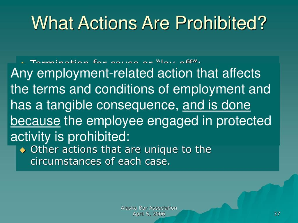 What Actions Are Prohibited?