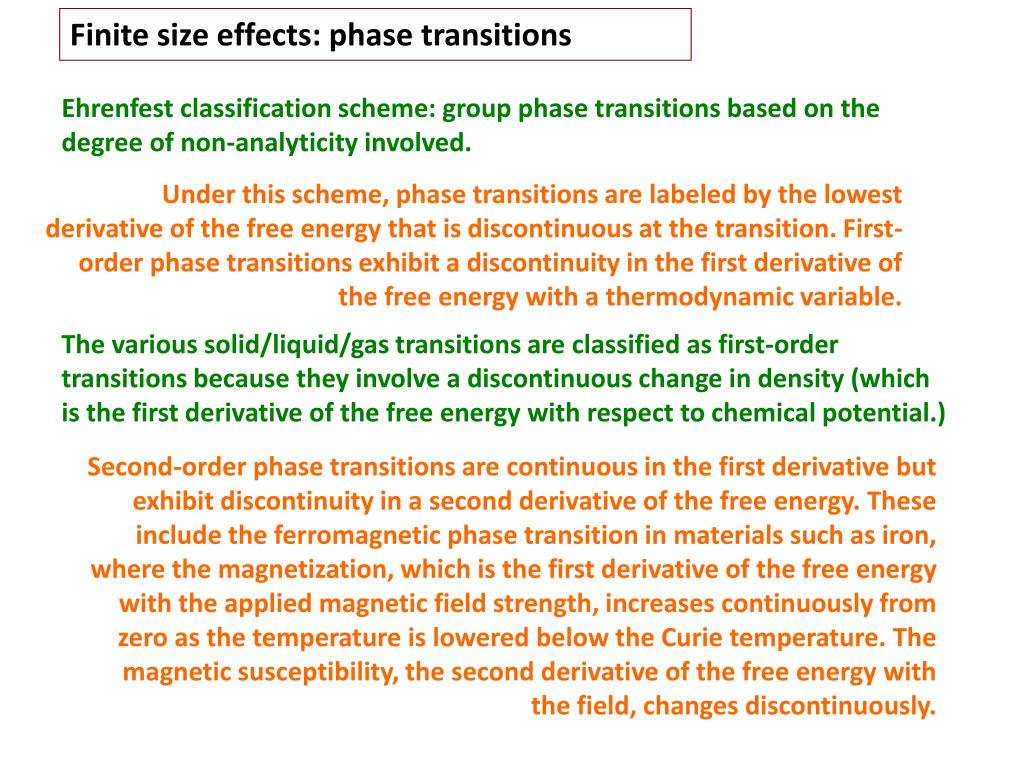 Finite size effects: phase transitions