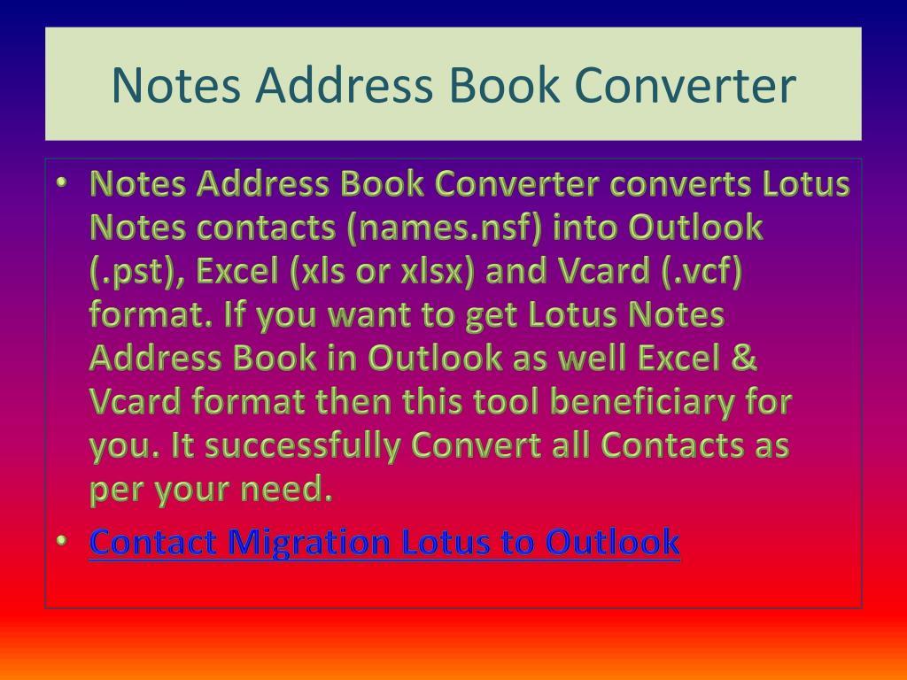 Notes Address Book Converter