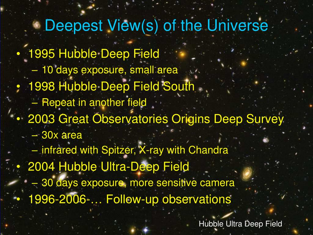 Deepest View(s) of the Universe