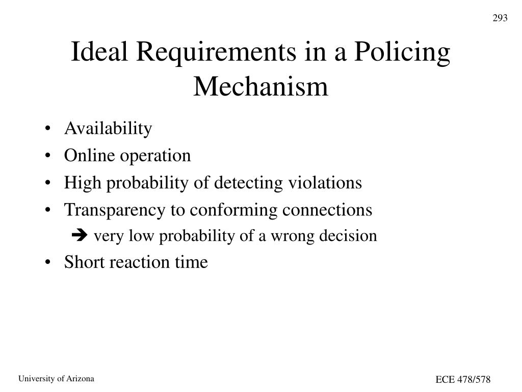 Ideal Requirements in a Policing Mechanism