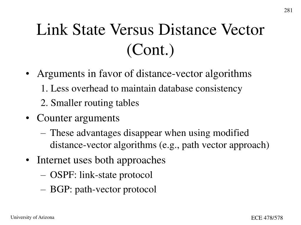Link State Versus Distance Vector (Cont.)