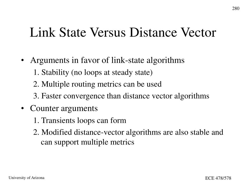 Link State Versus Distance Vector
