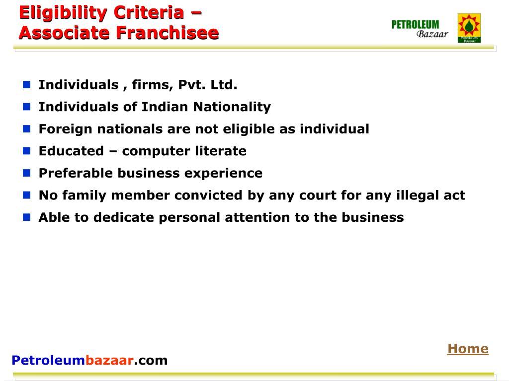 Eligibility Criteria –