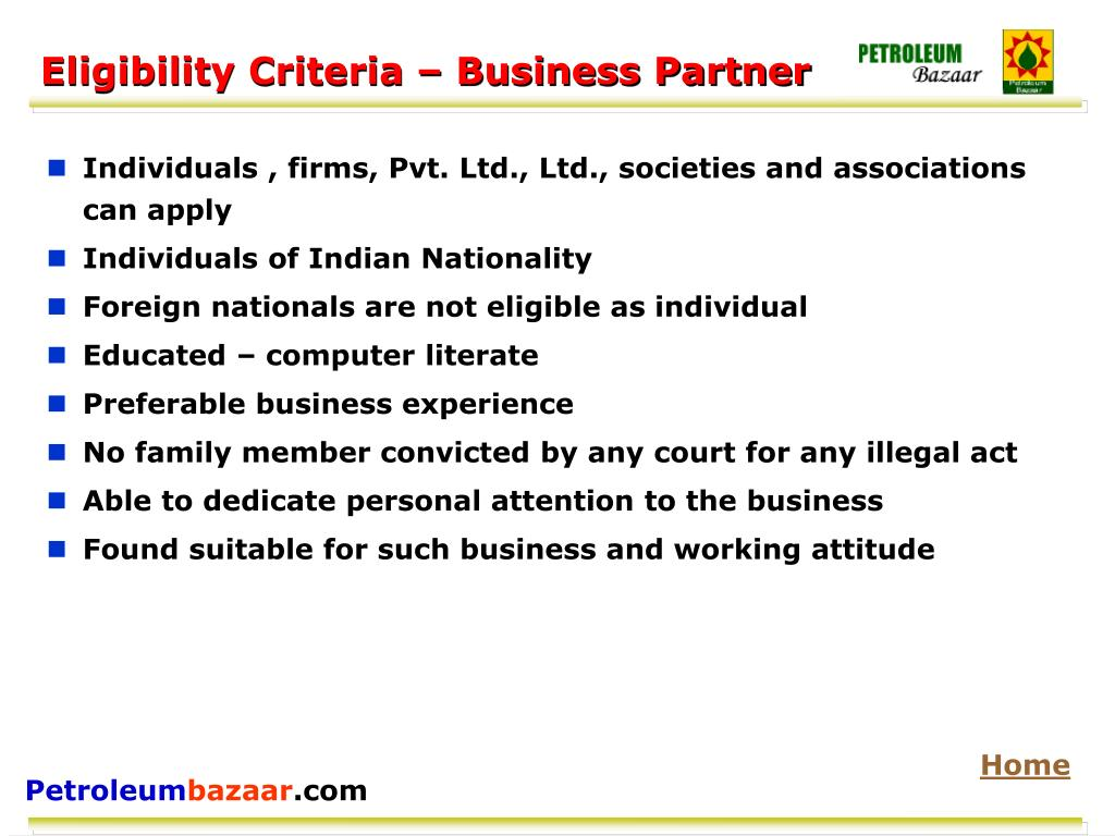 Eligibility Criteria – Business Partner