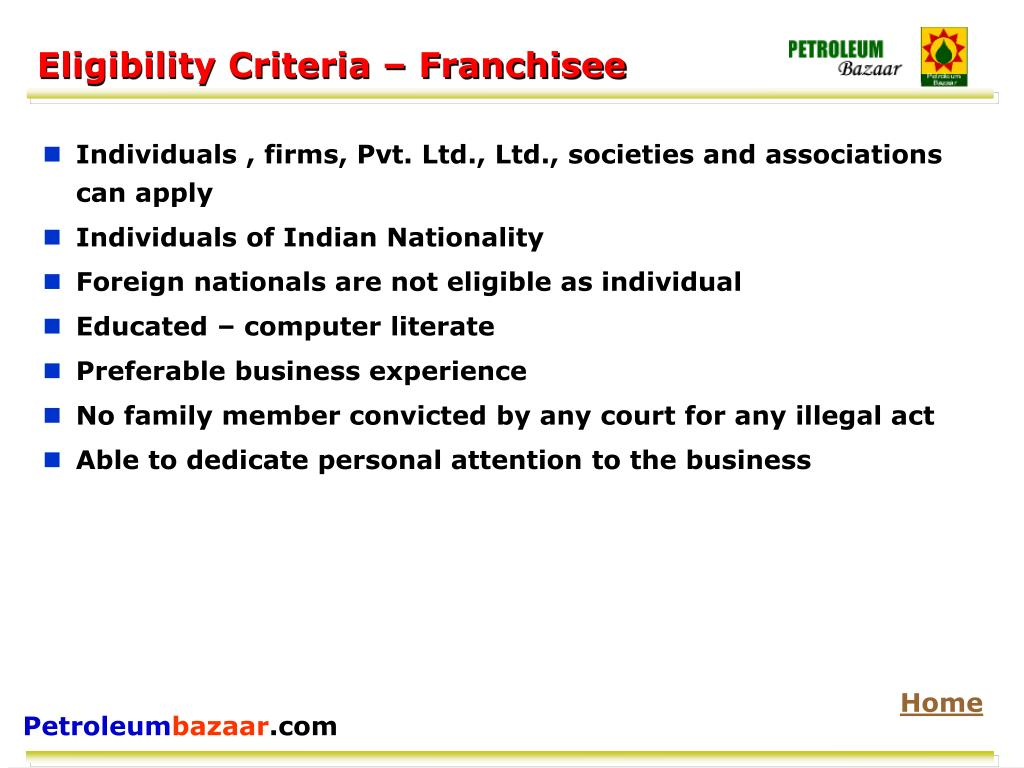 Eligibility Criteria – Franchisee
