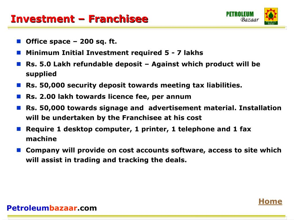 Investment – Franchisee