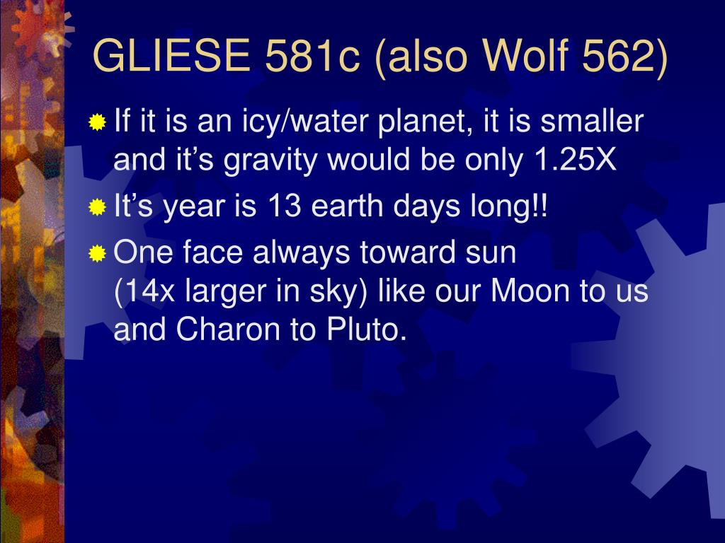 GLIESE 581c (also Wolf 562)