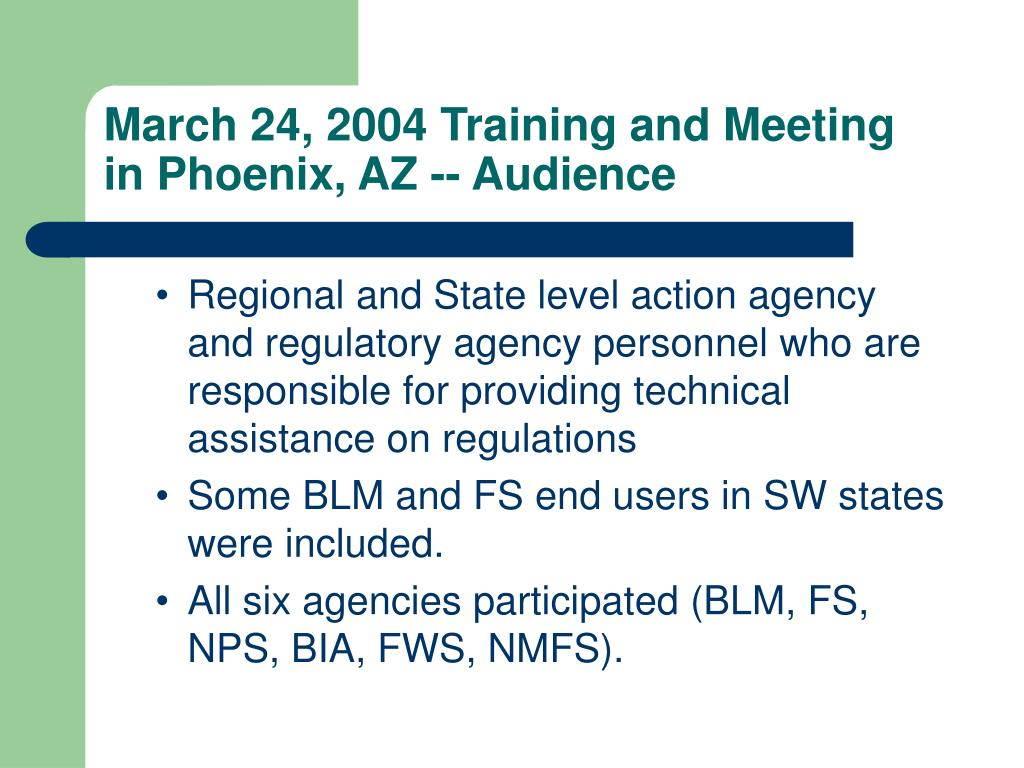 March 24, 2004 Training and Meeting