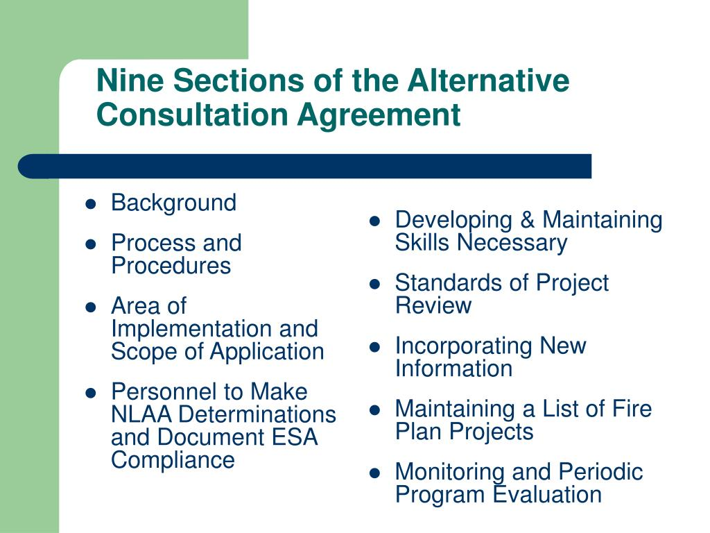 Nine Sections of the Alternative Consultation Agreement