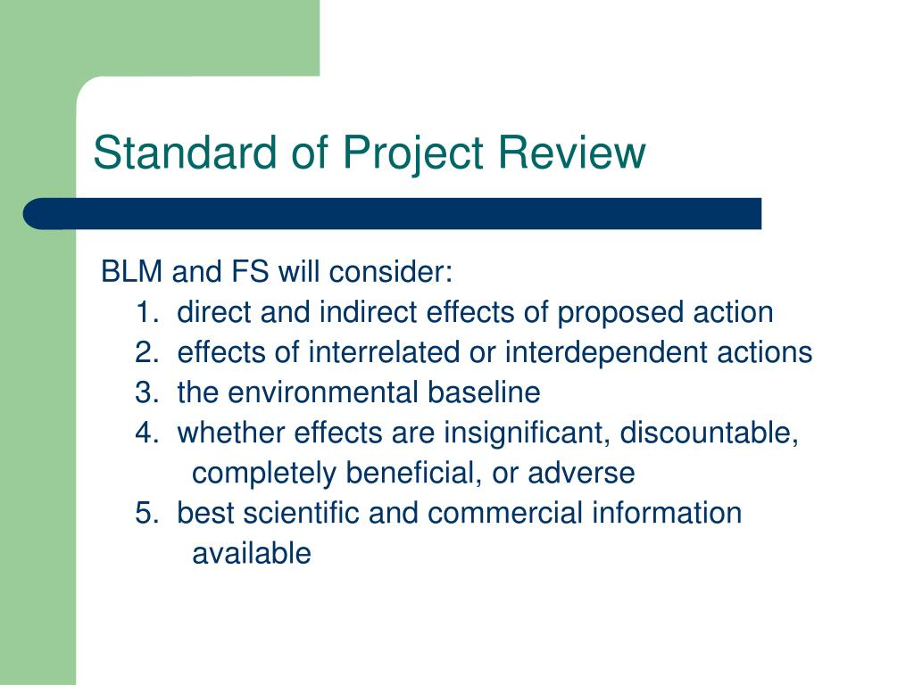 Standard of Project Review
