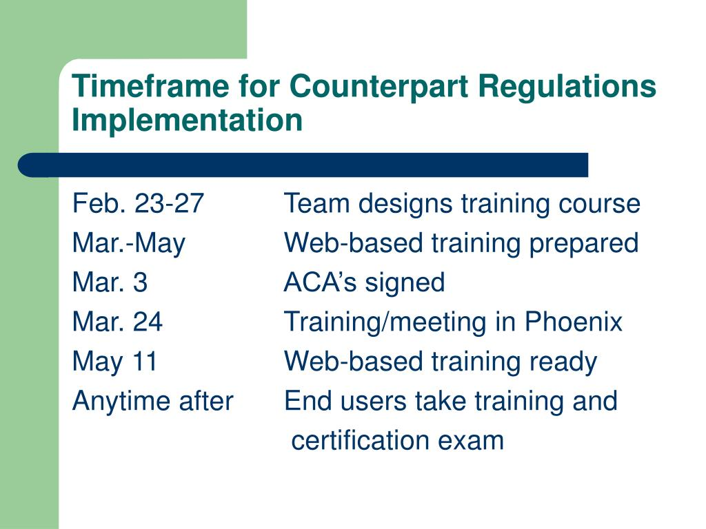 Timeframe for Counterpart Regulations Implementation