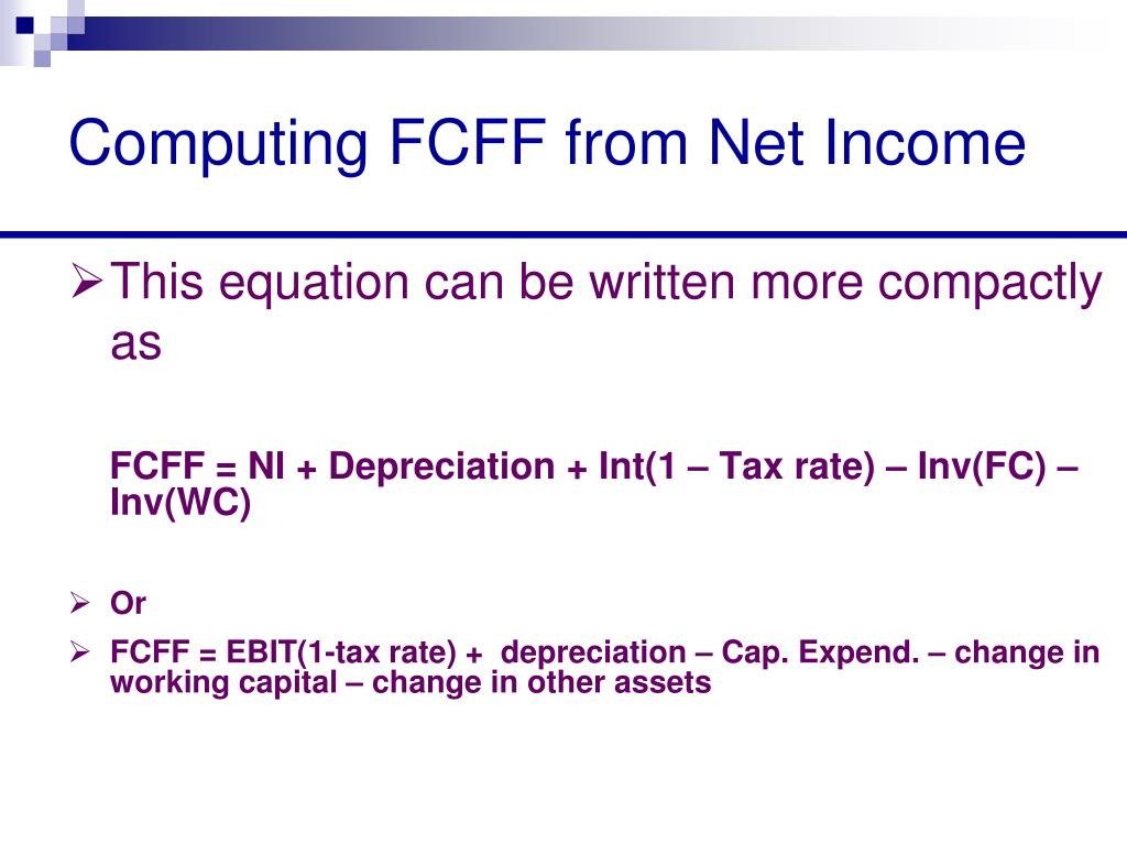 Computing FCFF from Net Income