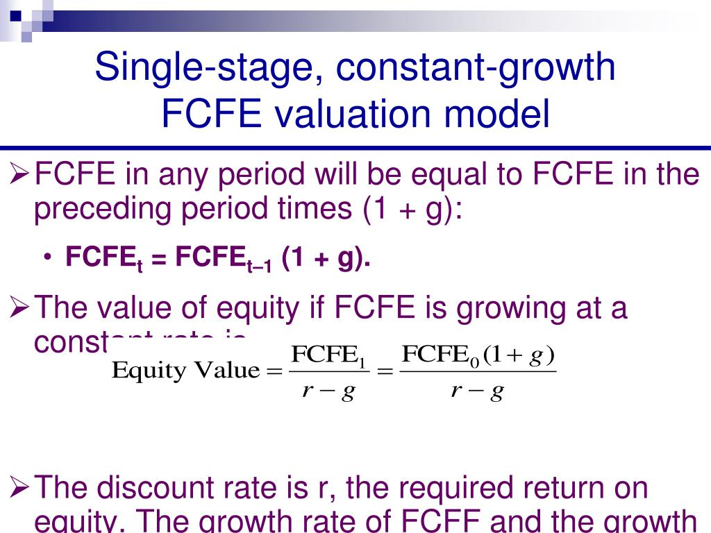 Single-stage, constant-growth FCFE valuation model