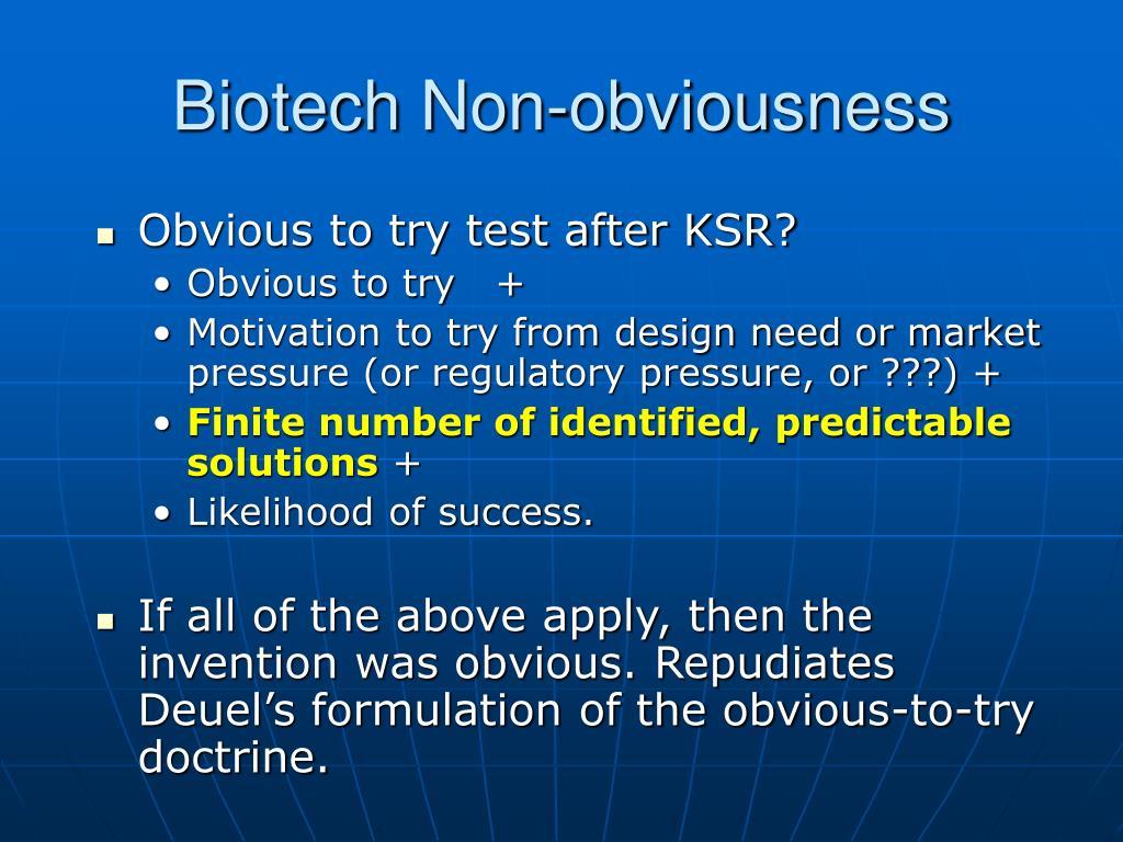 Biotech Non-obviousness