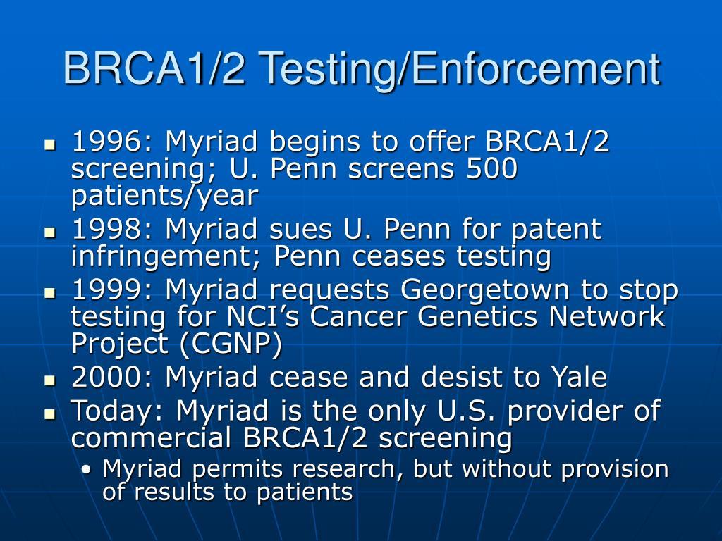 BRCA1/2 Testing/Enforcement