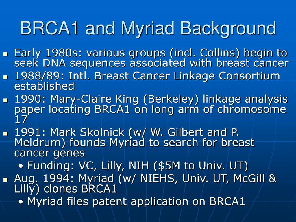 BRCA1 and Myriad Background