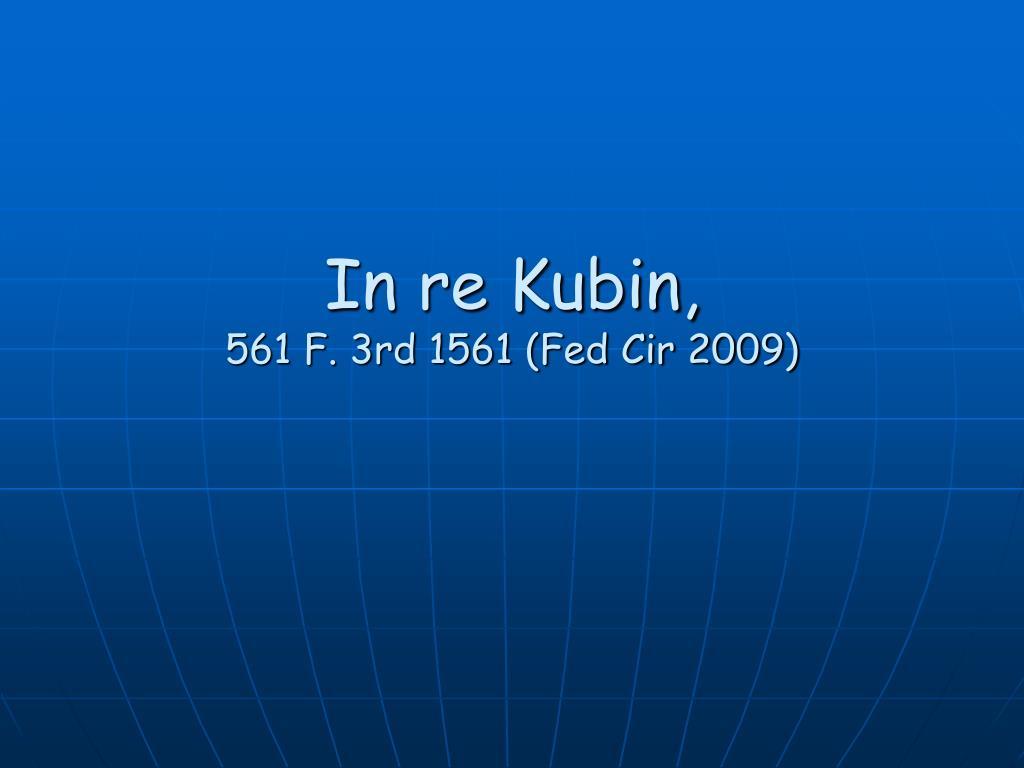 In re Kubin,