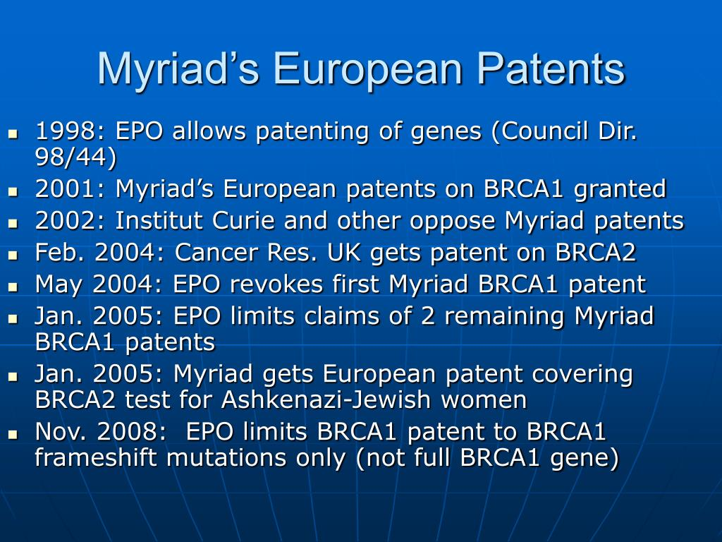 Myriad's European Patents