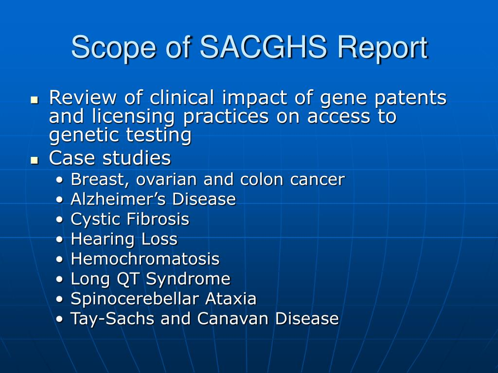 Scope of SACGHS Report
