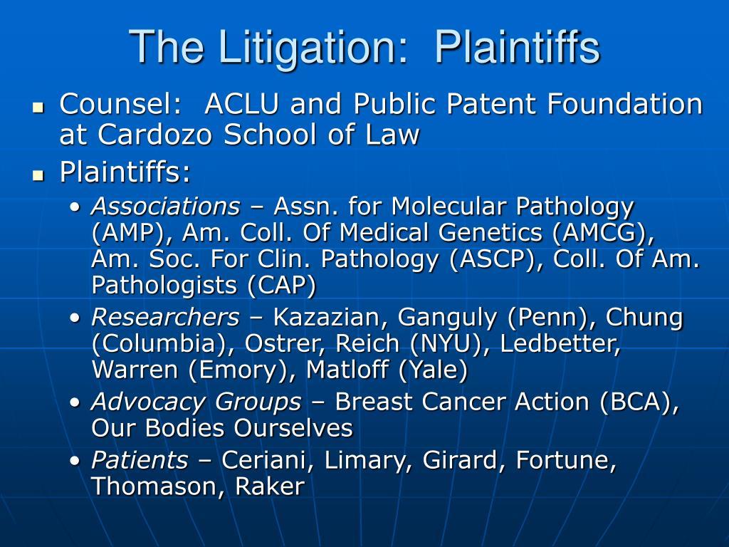 The Litigation:  Plaintiffs