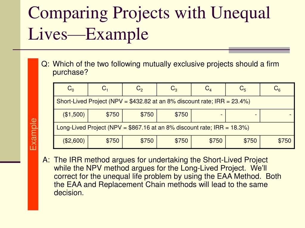 Q:Which of the two following mutually exclusive projects should a firm purchase?