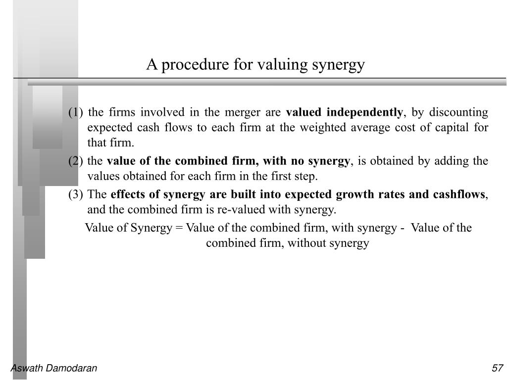 A procedure for valuing synergy
