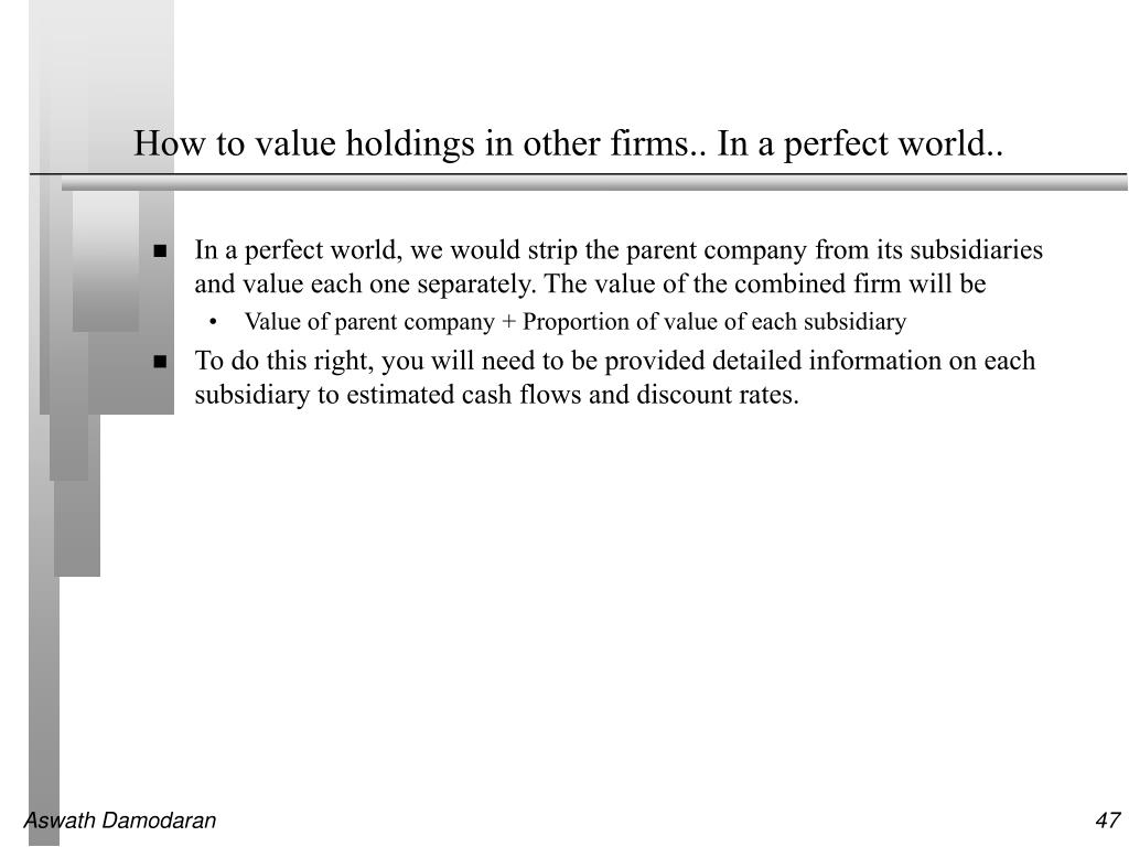 How to value holdings in other firms.. In a perfect world..