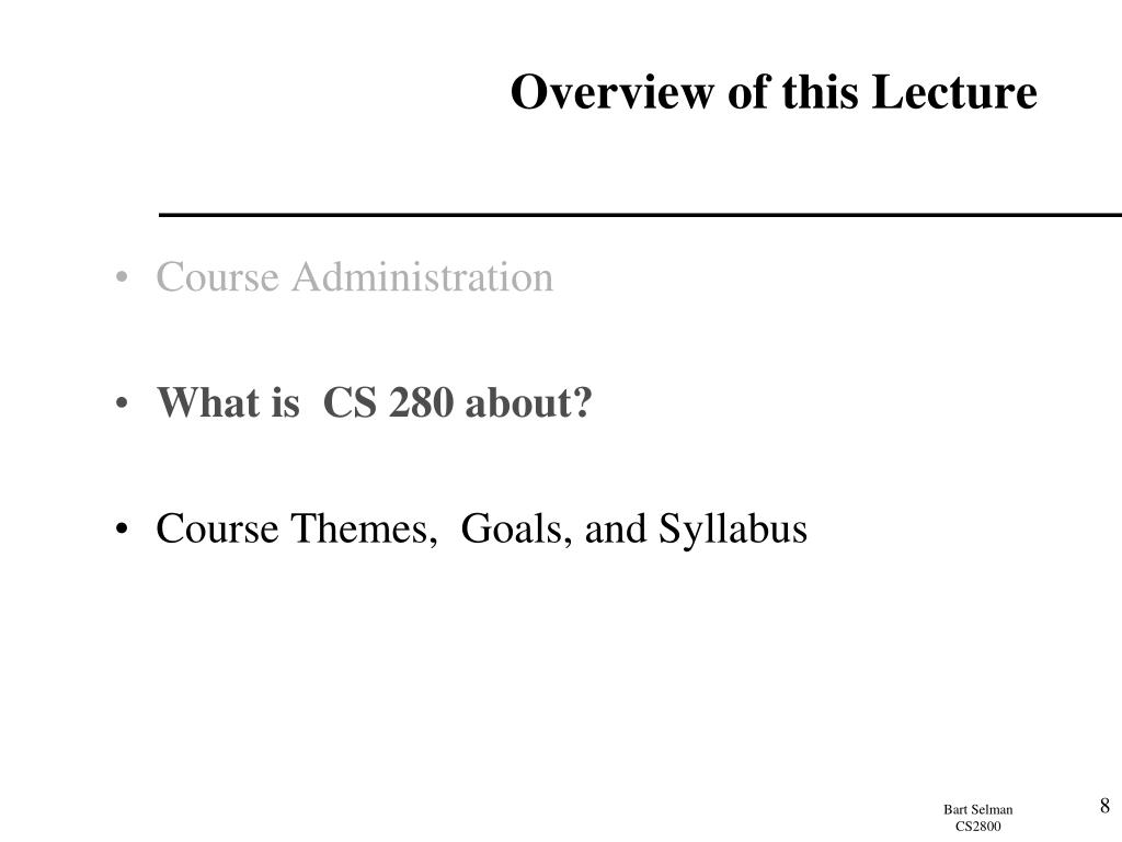 Overview of this Lecture