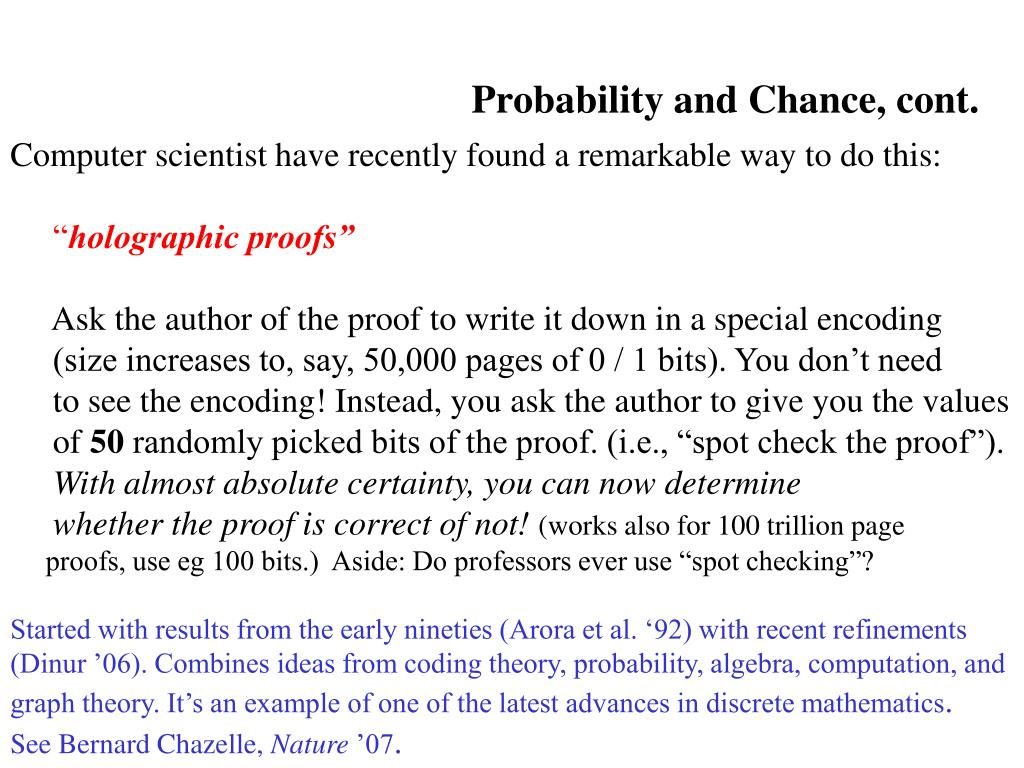 Probability and Chance, cont.