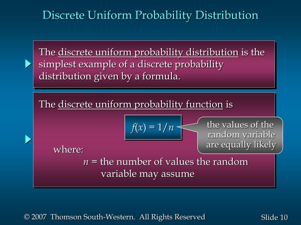 Discrete Uniform Probability Distribution