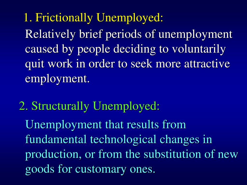 1. Frictionally Unemployed:
