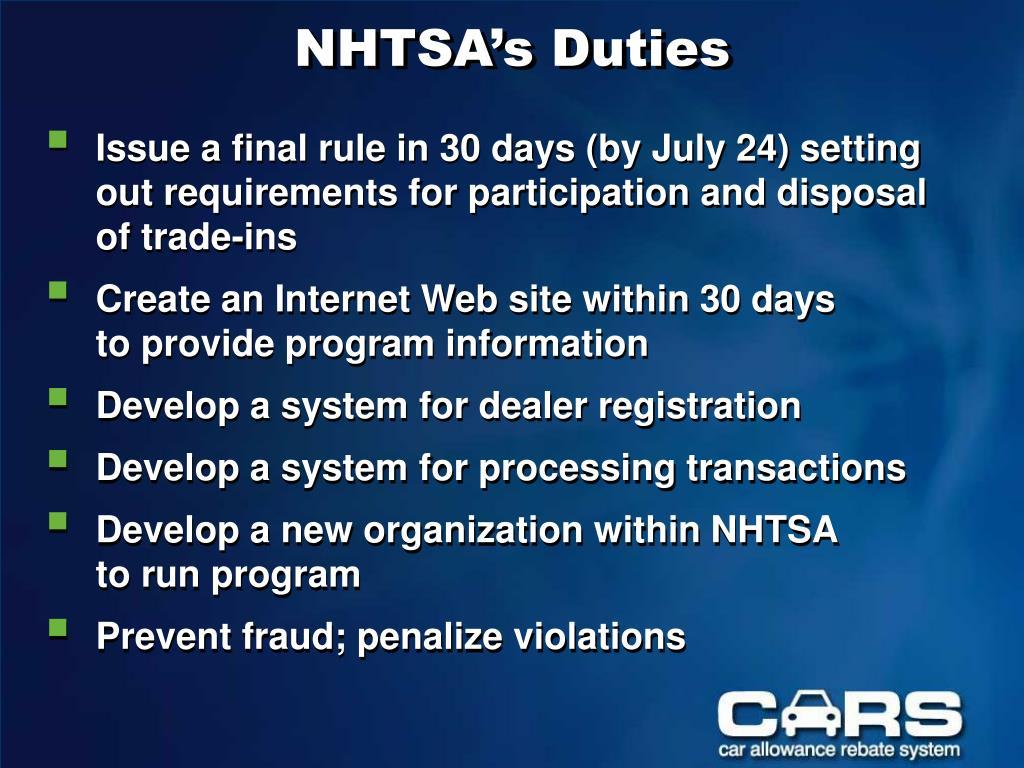 NHTSA's Duties