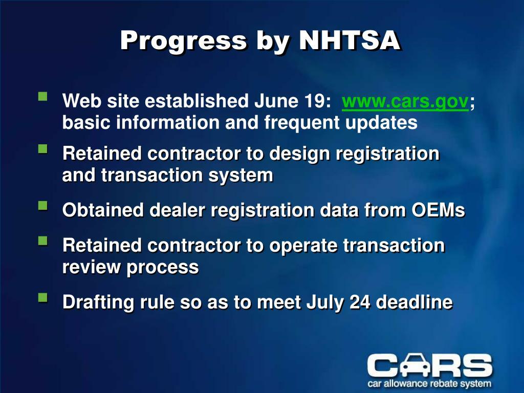Progress by NHTSA
