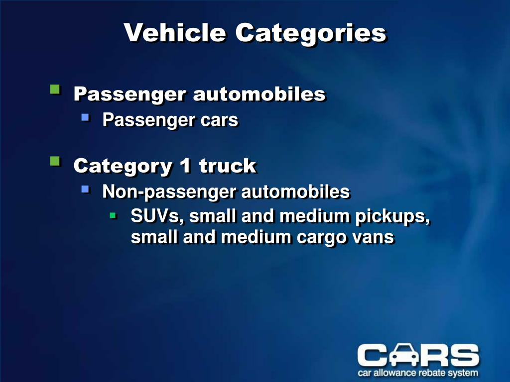 Vehicle Categories