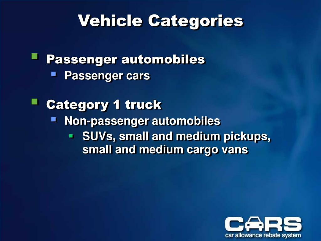 Vehicle Categories